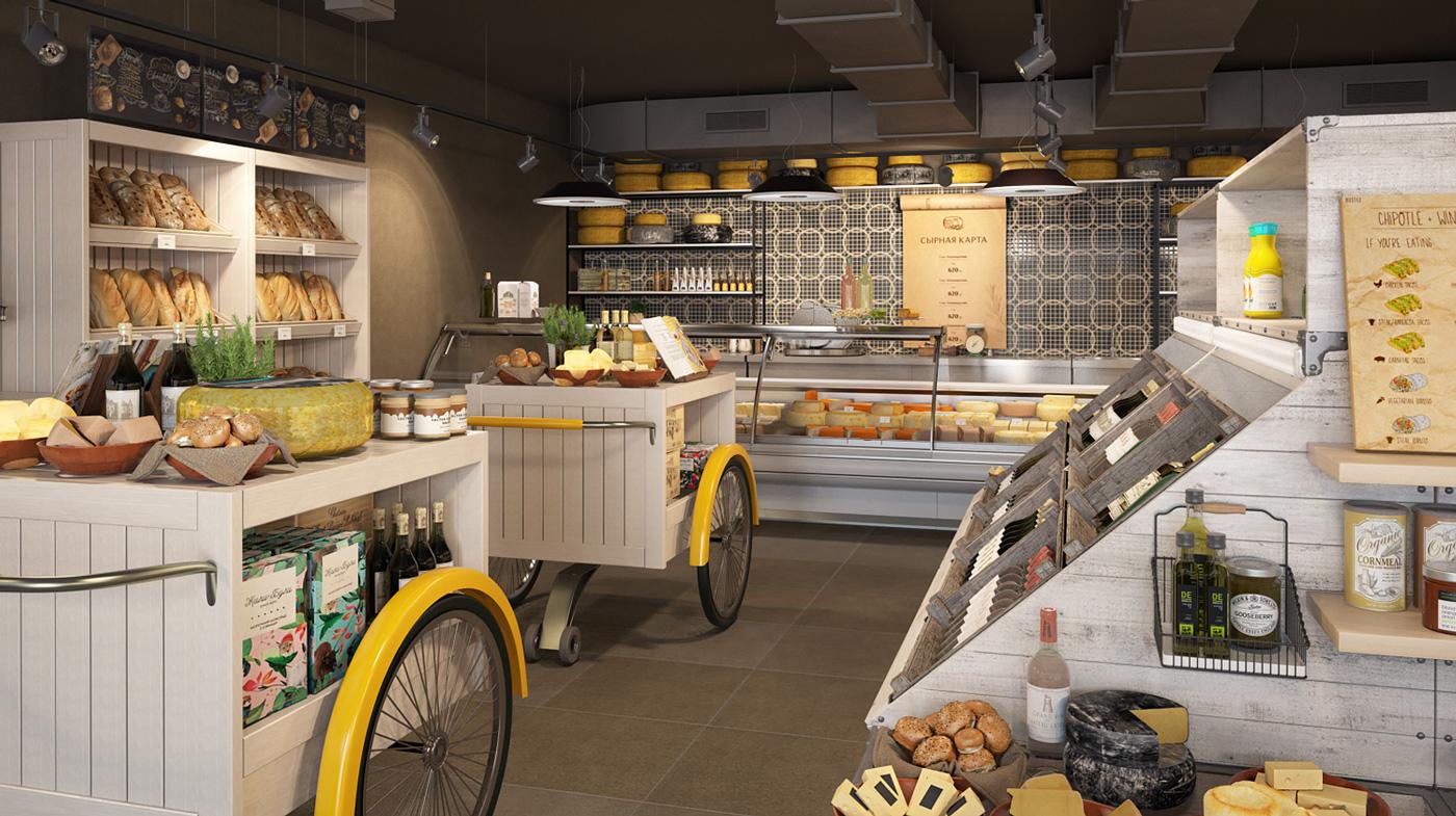 Дизайн интерьера магазина «Сырная карта»