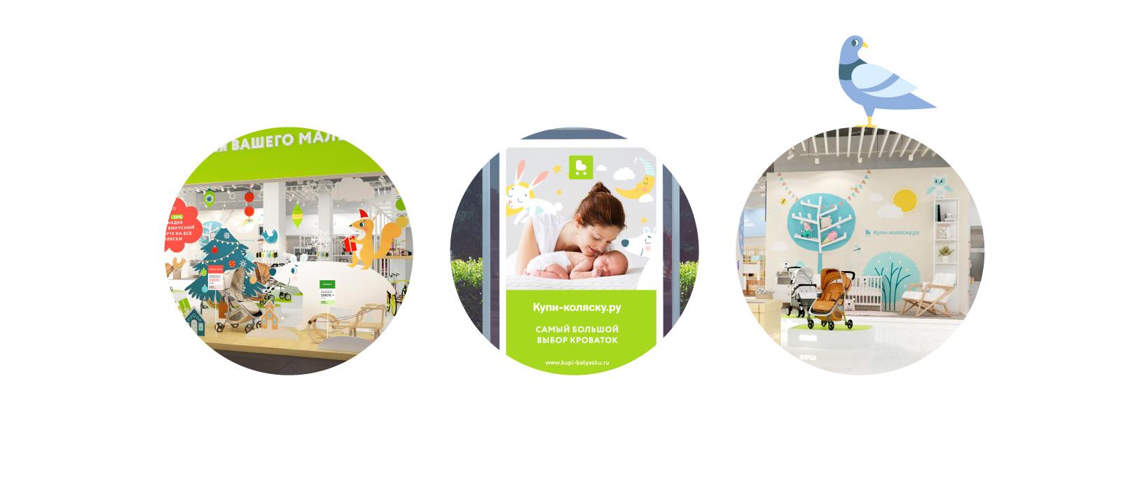 Примеры использования фирменного стиля бренда в дизайне рекламы, интерьере и навигации
