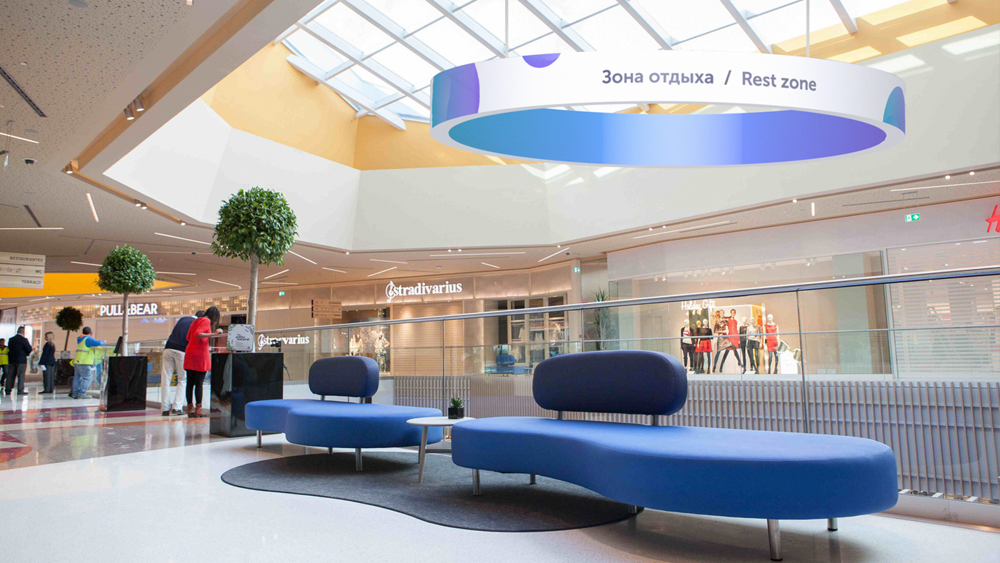 Ритейл-брендинг ТРЦ «Акварель», айдентика бренда в интерьере торгового центра