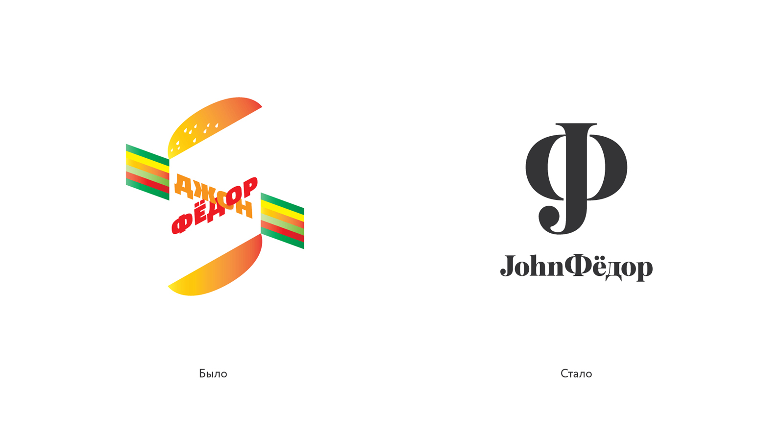 Рестайлинг бренда «JohnФёдор»: прежний вариант и новый, лаконичный, соответсвующий настроению, философии и характеру бренда.