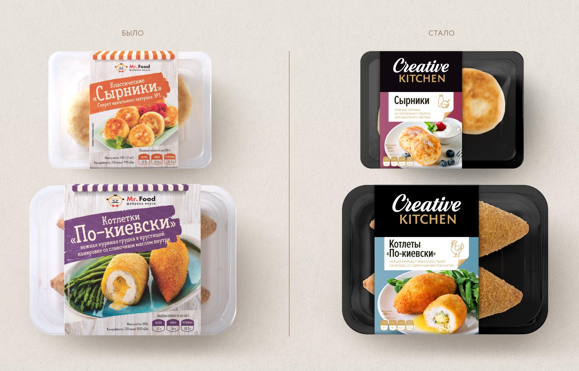 Дизайн упаковки «Creative Kitchen» до ребренга и после