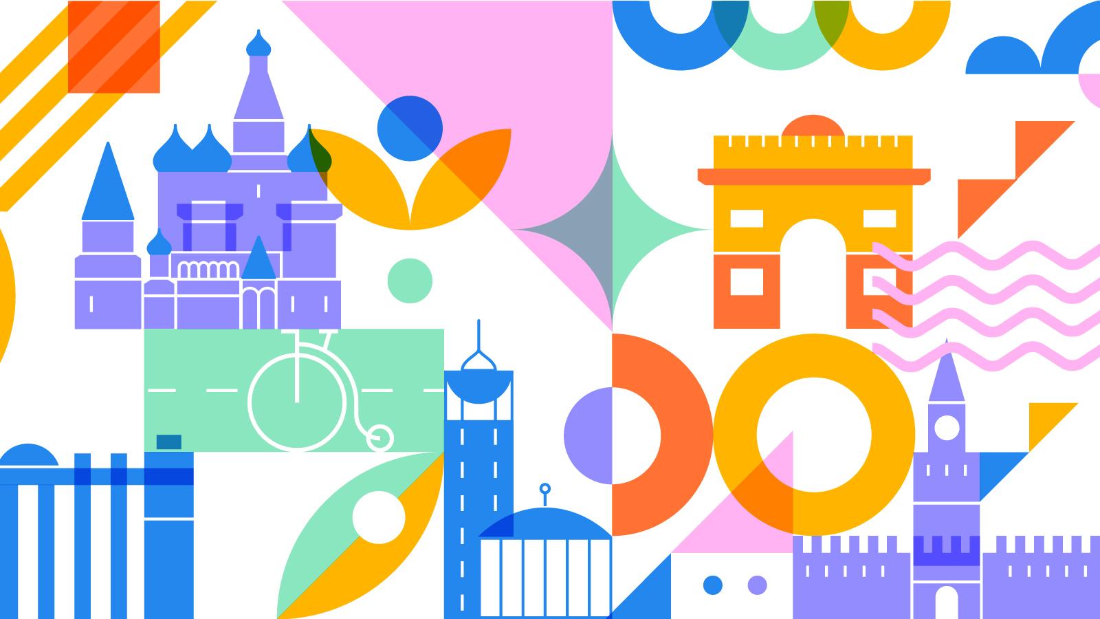Красочный фирменный паттерн в основе фирменного стиля Московского велофестиваля создан на основе стилизованных образов главных достопримечательностей столицы.