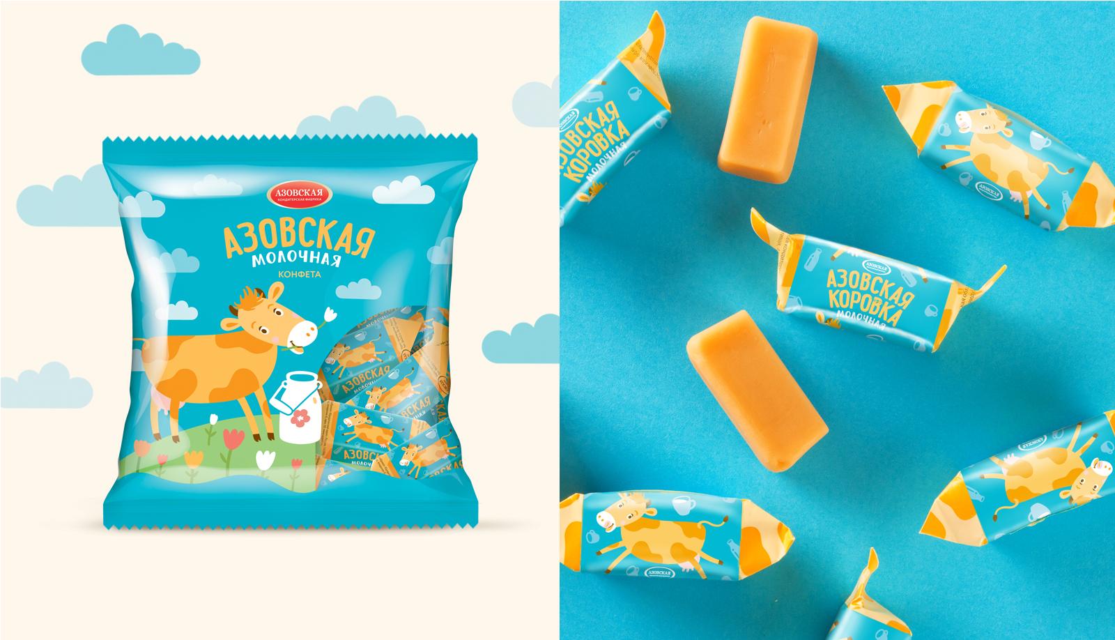 Дизайн упаковки «Азовская Коровка» «Азовская Коровка» — особая категория любимых с детства конфет на основе сгущенного молока. Актуальный и современный дизайн упаковки на основе авторских иллюстраций формирует привлекательный для самой широкой аудитории образ бренда.