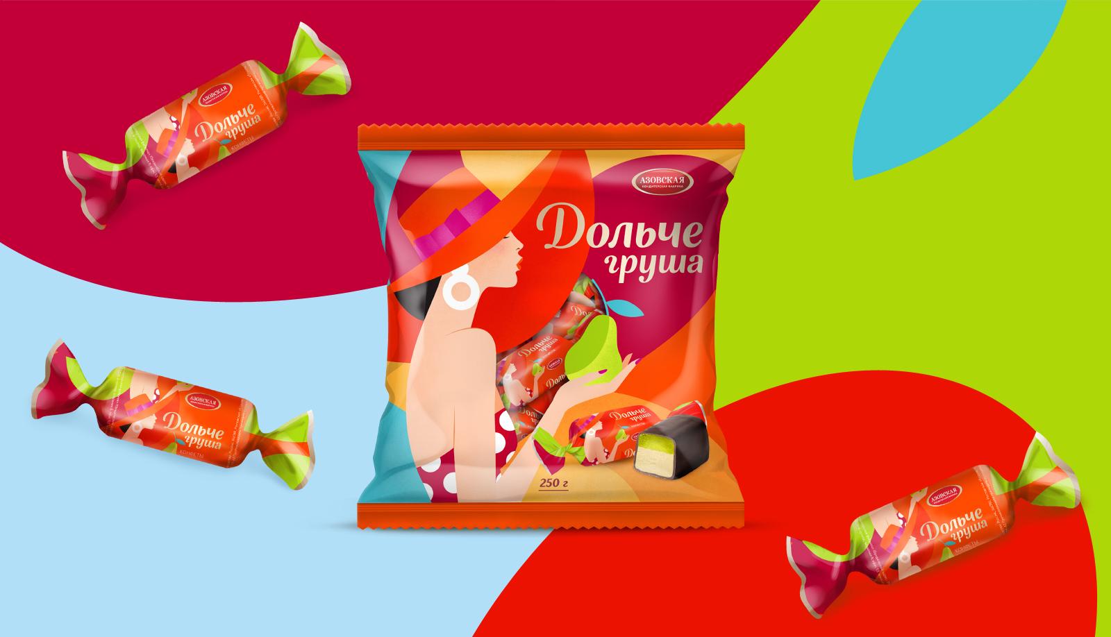 Дизайн упаковки конфеты «Дольче Груша» подчеркивает образ изысканного лакомства для ценителей вкуса дюшес.