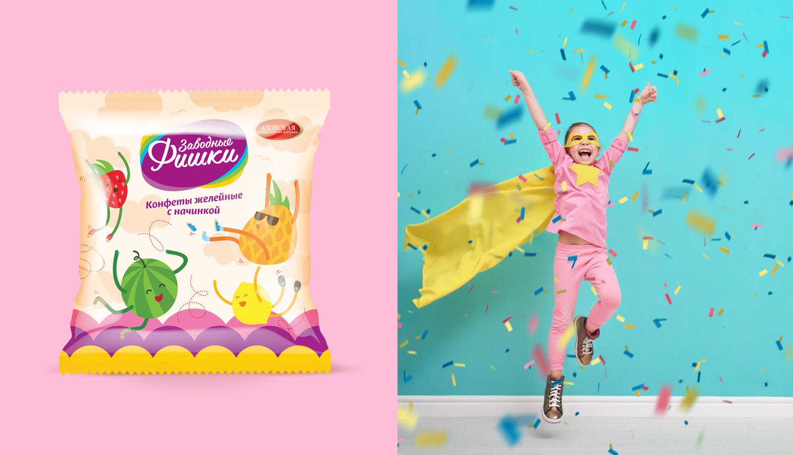 Разработка бренда «Заводные фишки» «Заводные фишки» — конфеты с нежной желейной начинкой.  В рамках проекта разработаны нейминг, дизайн логотипа и дизайн упаковки.