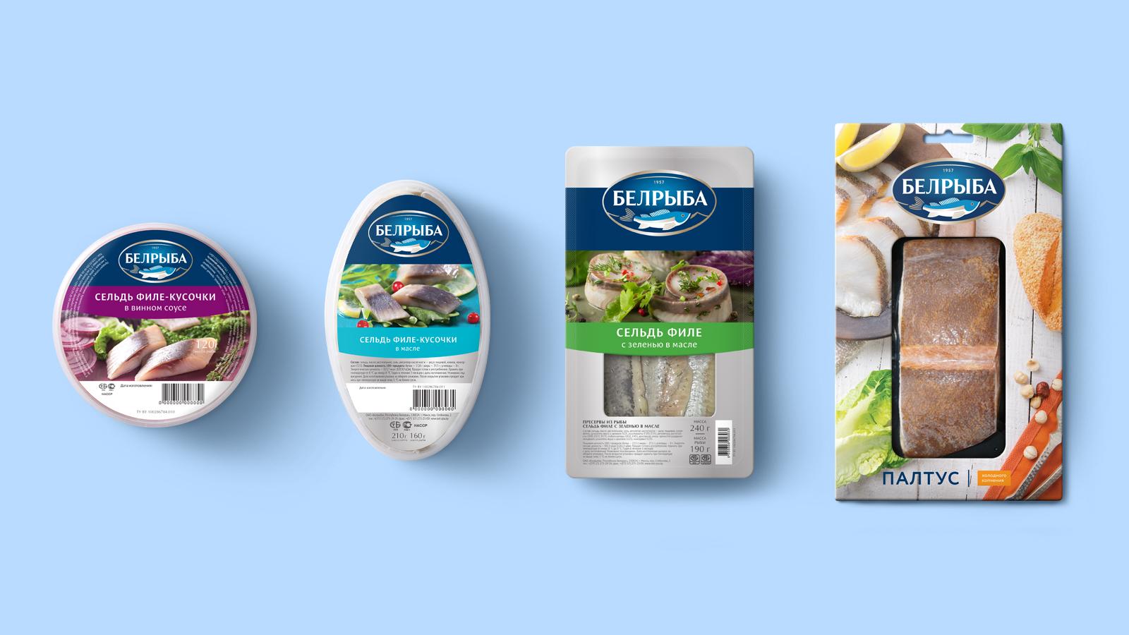 Разработка дизайна упаковки всего ассортимента продукции «Белрыба», ведущего производителя рыбной продукции в Беларуси.