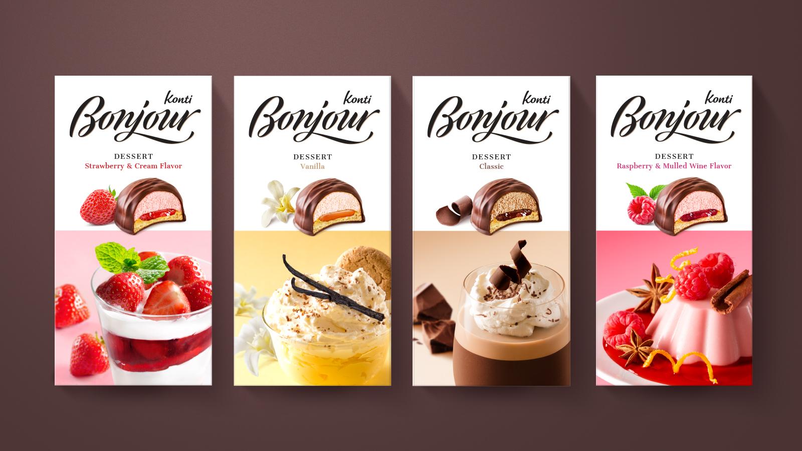 Ребрендинг, стратегический рестайлинг бренда кондитерских изделий Bonjour Группы «Конти»