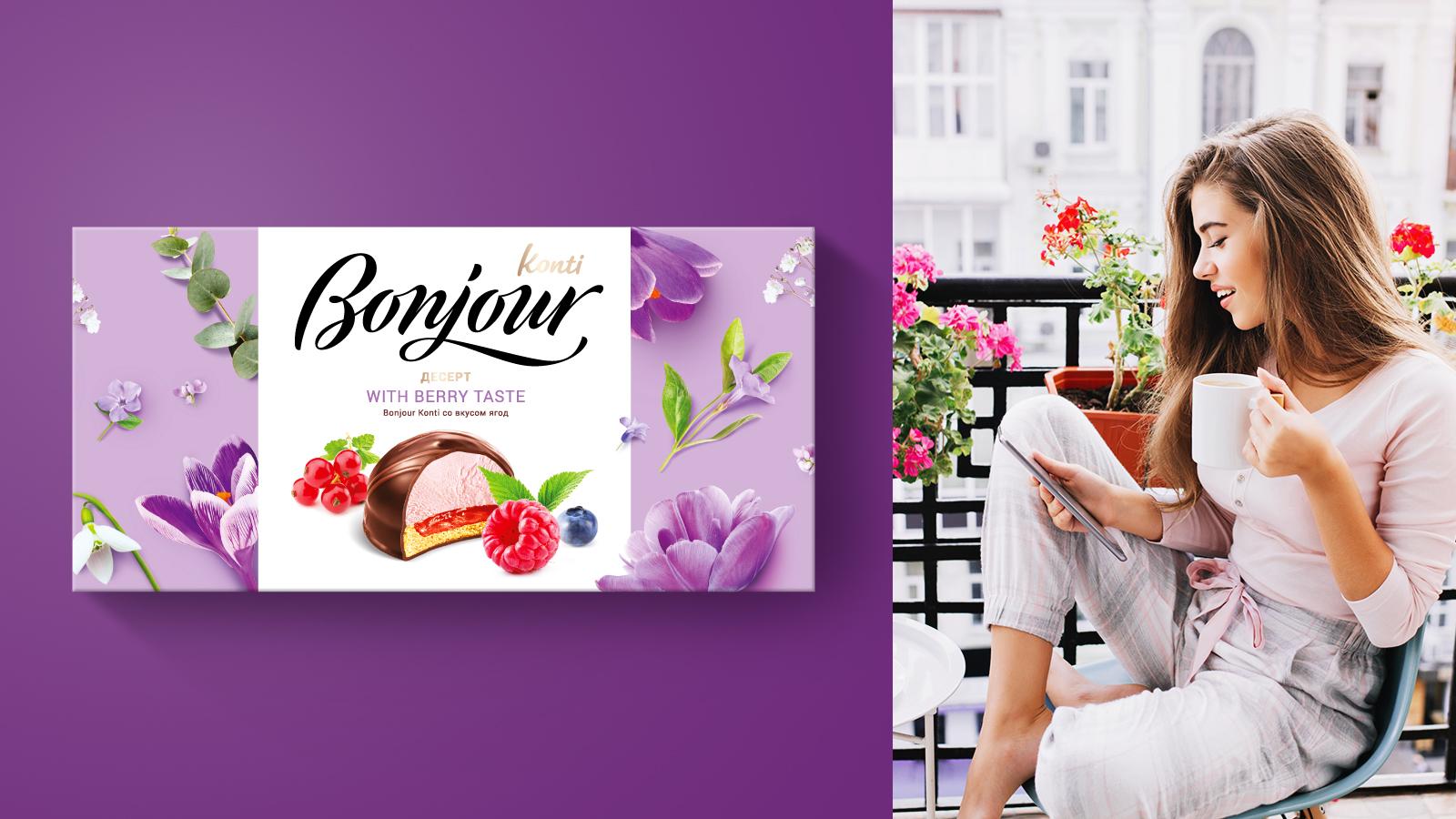 Сезонный дизайн упаковки десерта Bonjour к Празднику весны формирует необходимое настроение и атмосферу бренда, превращая десерт в изысканный подарок