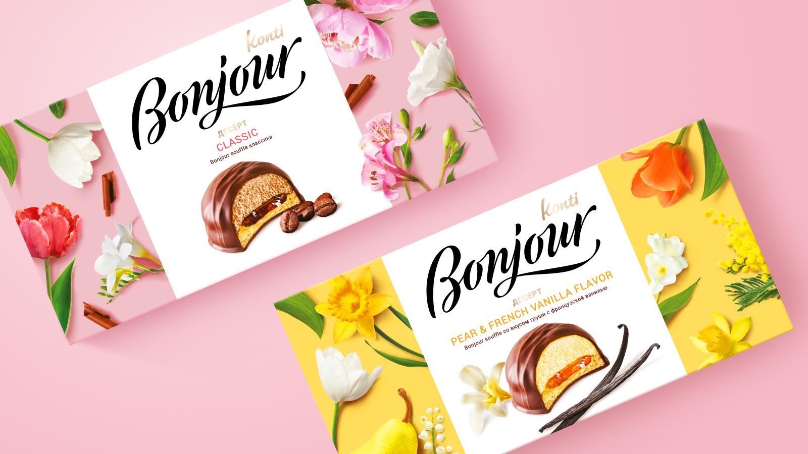 Разработка индивидуального дизайна упаковки десерта Bonjour к Восьмому марта