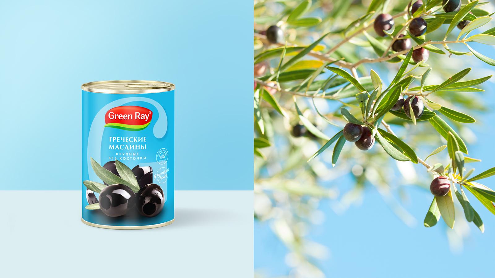 Яркая цветовая палитра в дизайне упаковки бренда консервированных овощей Green Ray акцентирует внимание на вкуса