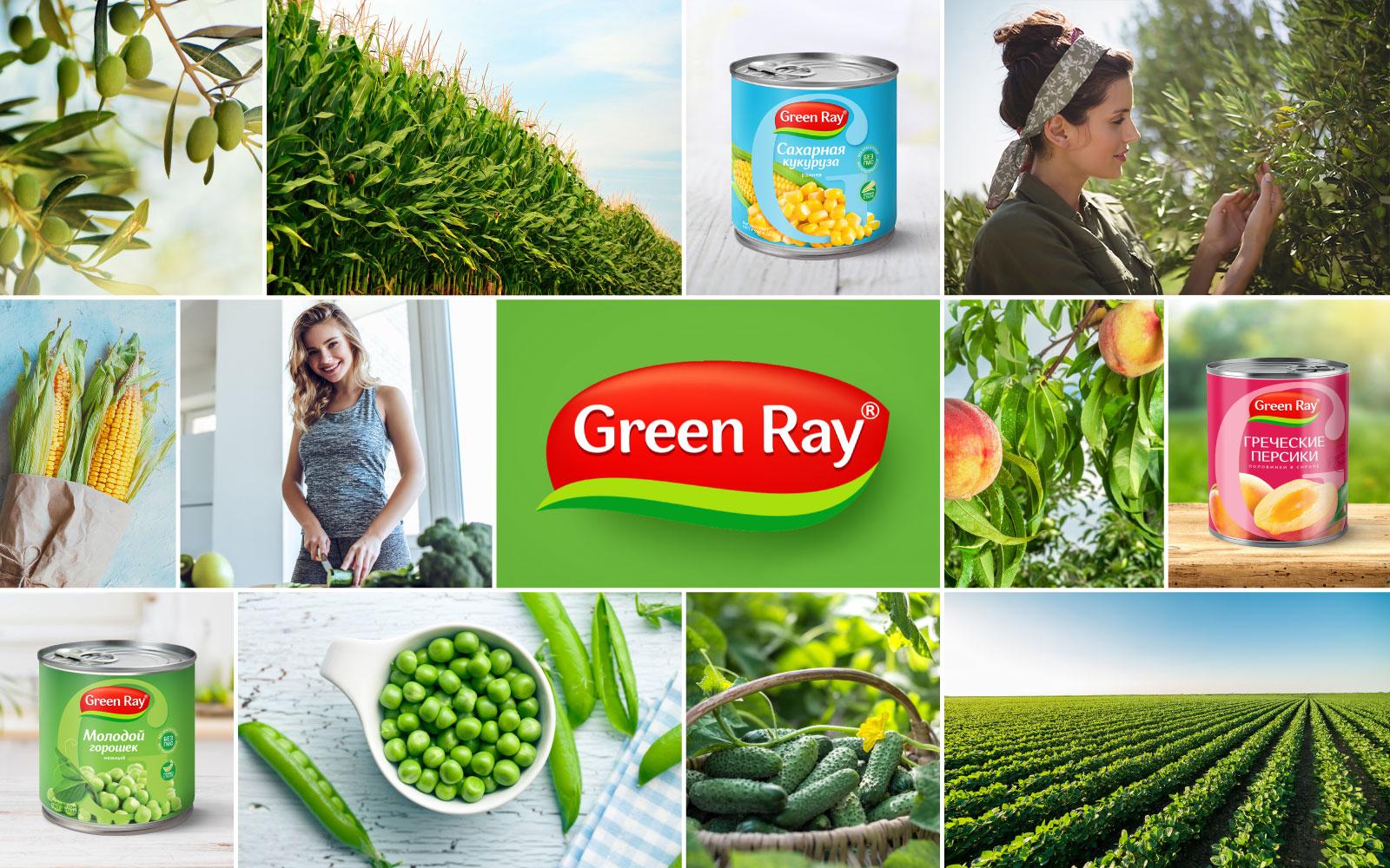 Рестайлинг бренда консервированных овощей и фруктов Green Ray: создание обновленного логотипа и дизайна упаковки всего ассортимента продукции