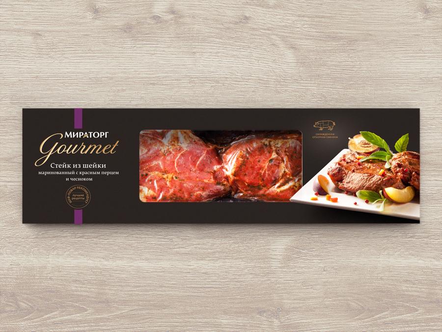 Фирменный стиль и дизайн упаковки изысканной продукции Мираторг Gourmet