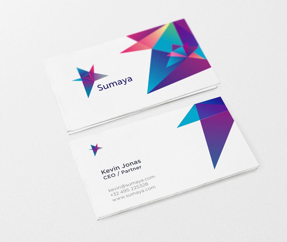 Дизайн логотипа и фирменный стиль Sumaya в визитках