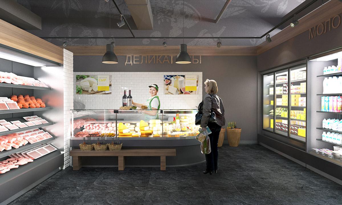 Дизайн интерьера магазина Лаврика, деликатесы
